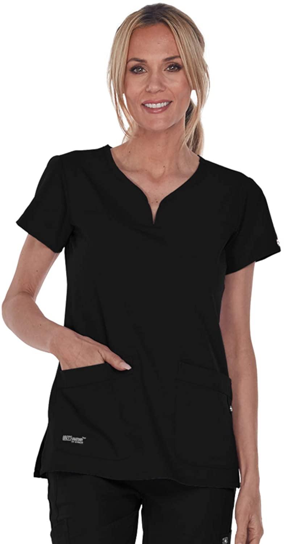 Grey's Anatomy Signature Women's Two Pocket Notch Yoke Neck Scrub Top, Black, X-Small