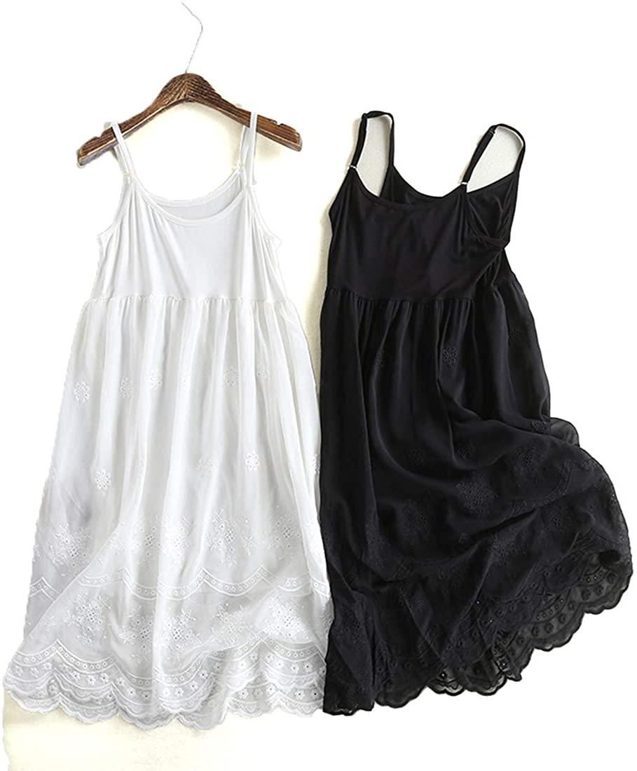 soft living Women's Adjustable Camisole Slip Dress 100% Cotton Spagheti Strap