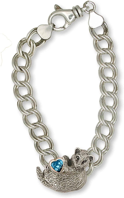 Ferret Jewelry Silver And 14k Gold Handmade Ferret Bracelet FT1-BR