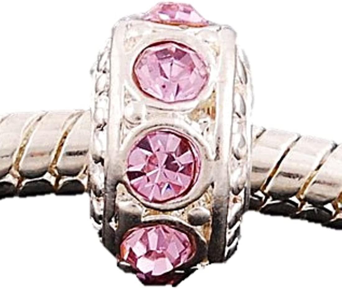 Charm Buddy Pink Crystal Rhinestone Spacer Charms Bead Fits Silver Pandora Style Bracelets