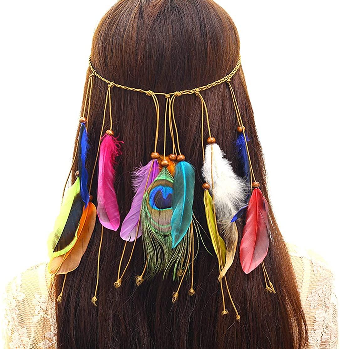 Telamee Women India Flapper Headband 1920s Gatsby Hairband Boho Feather Headwear