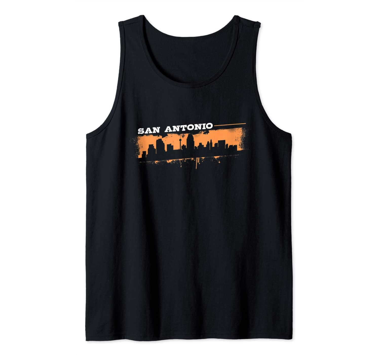 San Antonio Texas Skyline Retro Grafitti Style Tank Top