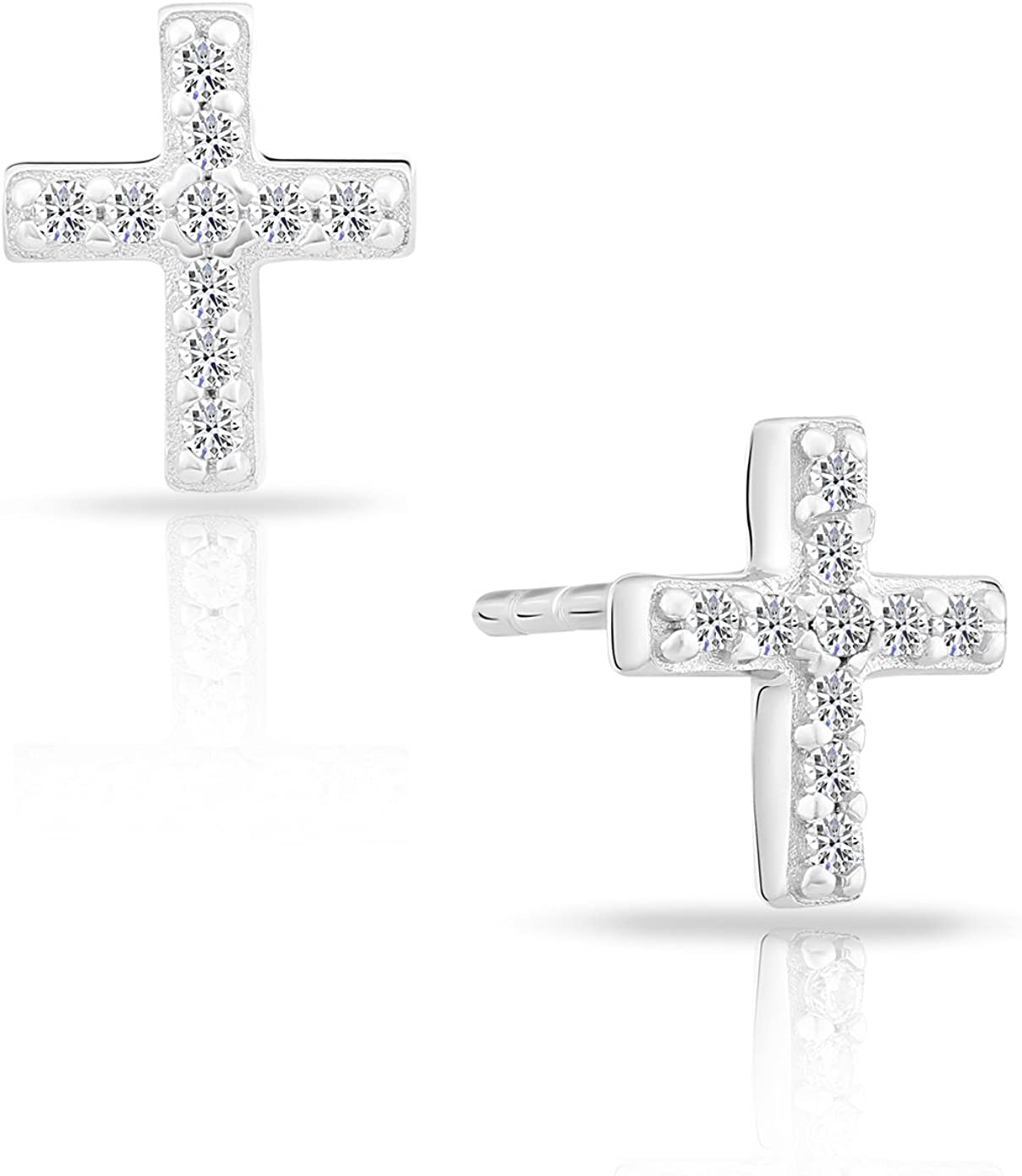 Tiny Sterling Silver Cross Small Stud Earrings with Cubic Zirconia