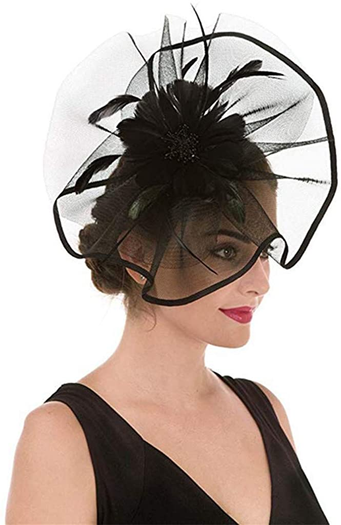 SWEETHA Women Fascinator Hat Feather Mesh Net Veil Party Fedora Hat Headwear with Clip and Headband