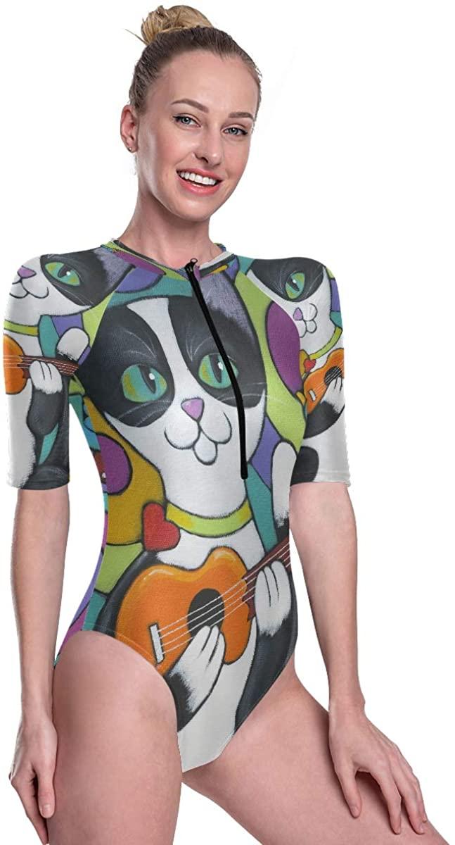 Womens Zip Up Printed Short Sleeve 1 Piece Rash Guard Swimsuit Exotic Cute Cat Holding Guitar Swimwear