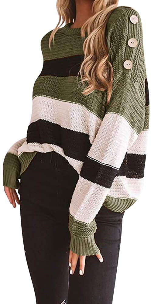 TARSE Women's Color Block Striped Sweater Oversized Casual Button Long Sleeve Pullover Tops