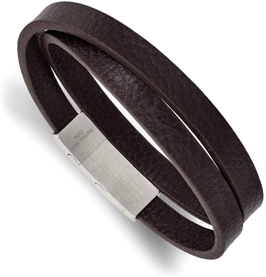 Stainless Steel Brushed Brown PU Leather With .25in Ext 16in Wrap Bracelet