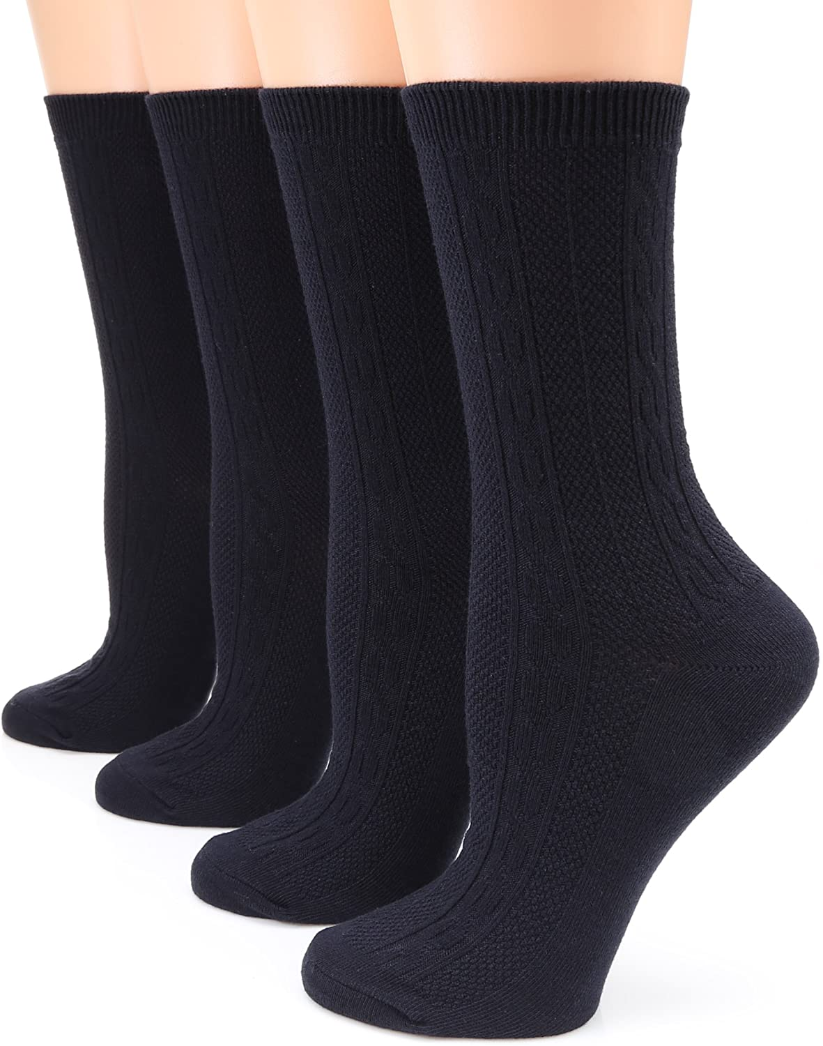 MIRMARU Women's 4 Pairs Lightweight Cable Knitted Cotton Casual Crew Socks