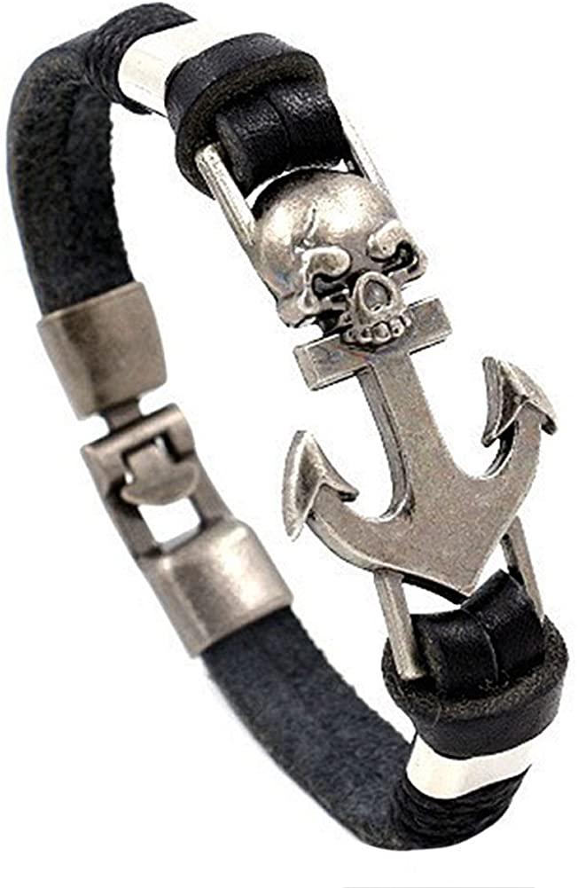JMQJewelry Leather Wrap Bracelets for Women Men Skull Anchor Heart Best Friend Friendship