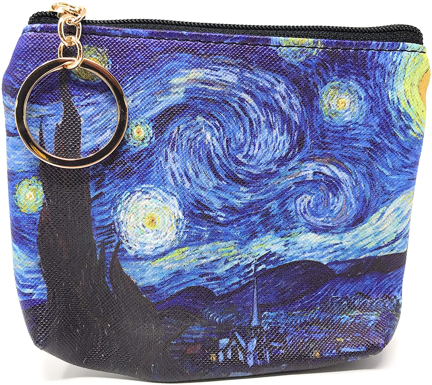 Value Arts Van Gogh Starry Night Coin Purse Pouch with Key Ring