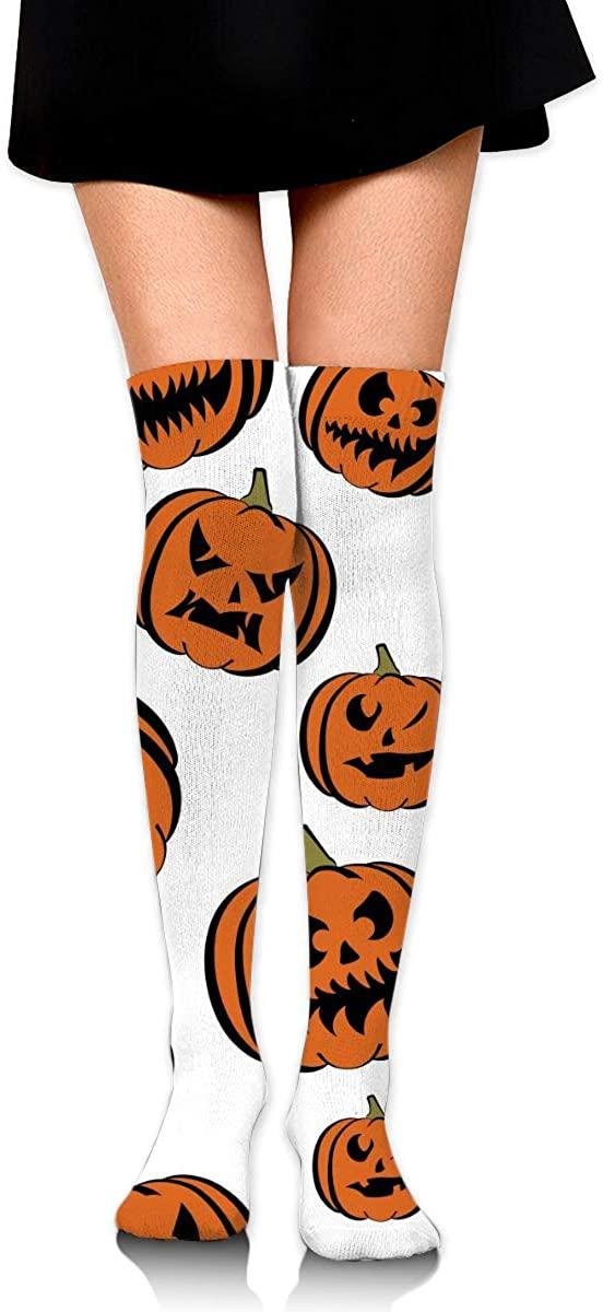 Dress Socks Halloween Pumpkin Jack-O'-Lantern High Knee Hose Hold-Up Stockings