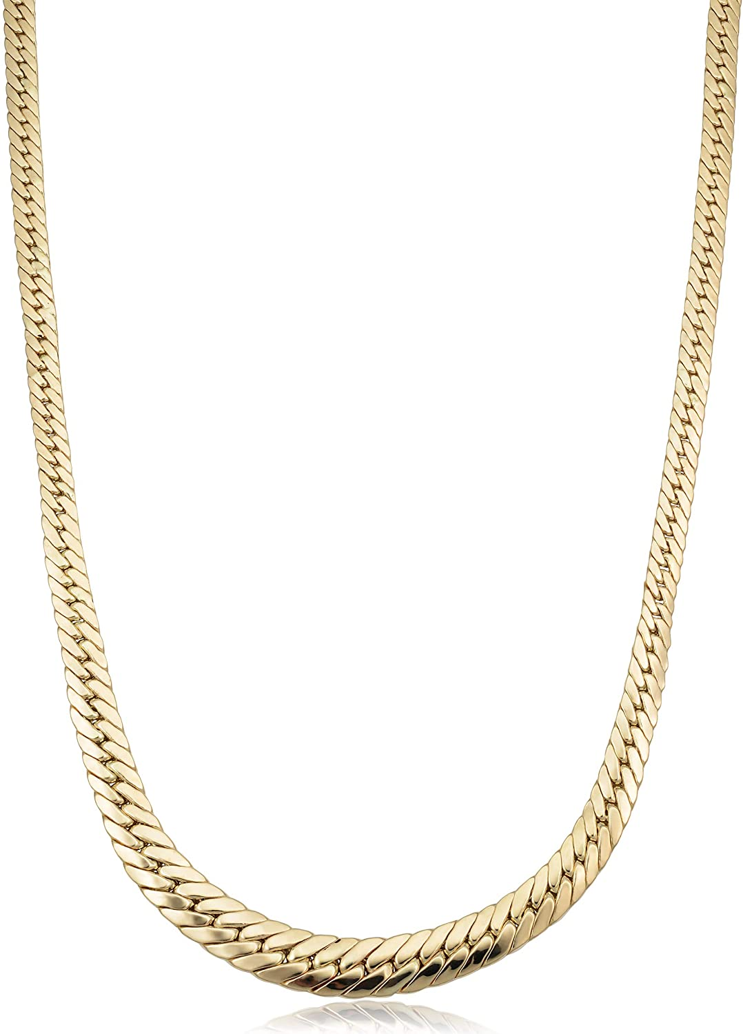 Kooljewelry 14k Yellow Gold Graduated Cuban Curb Link Necklace (17.5 inch)