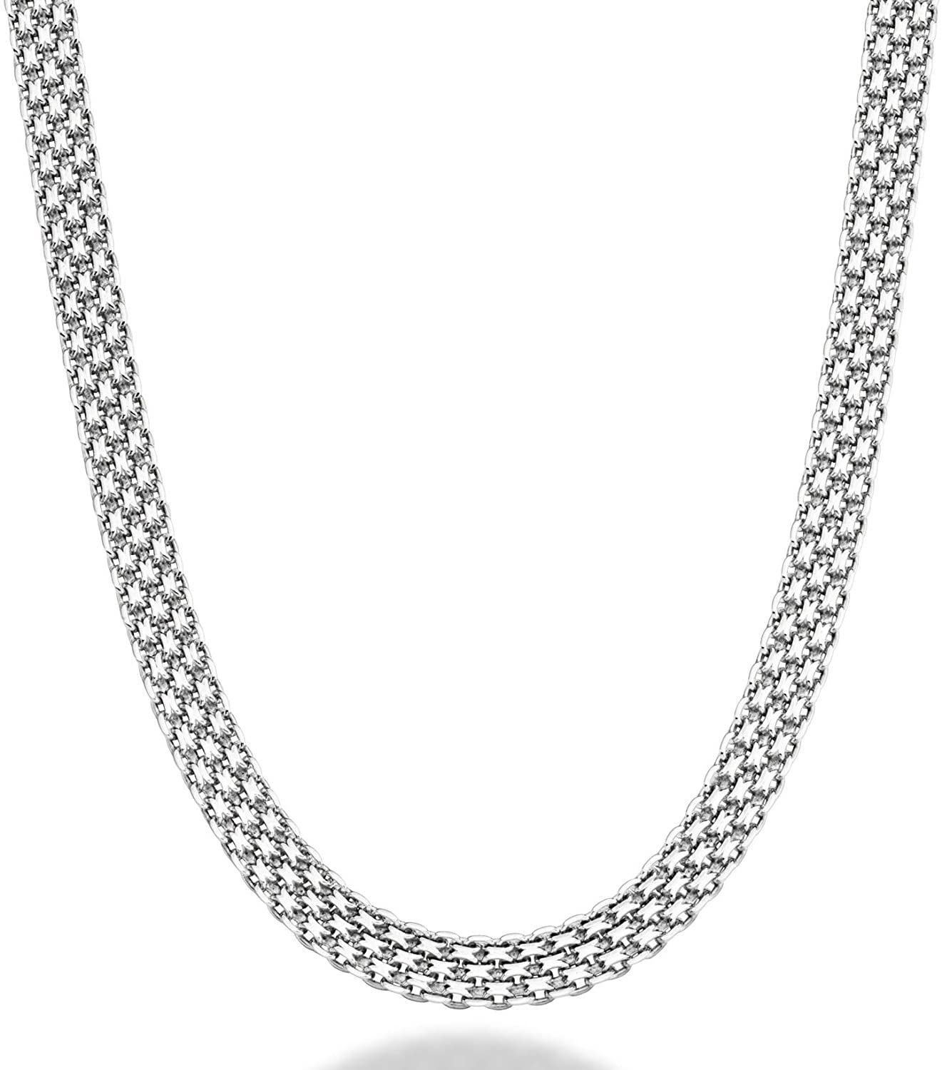 Miabella 925 Sterling Silver Italian 6mm Solid Mesh Link Chain Necklace for Women 18, 20 Inch Made in Italy