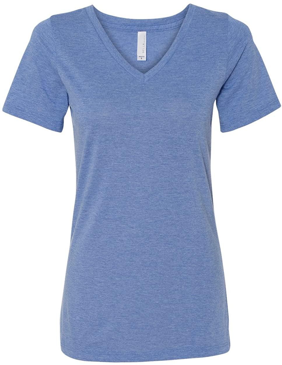 Bella girls Missy's Relaxed Jersey Short-Sleeve V-Neck T-Shirt(6405)-BLUE TRIBLEND-L