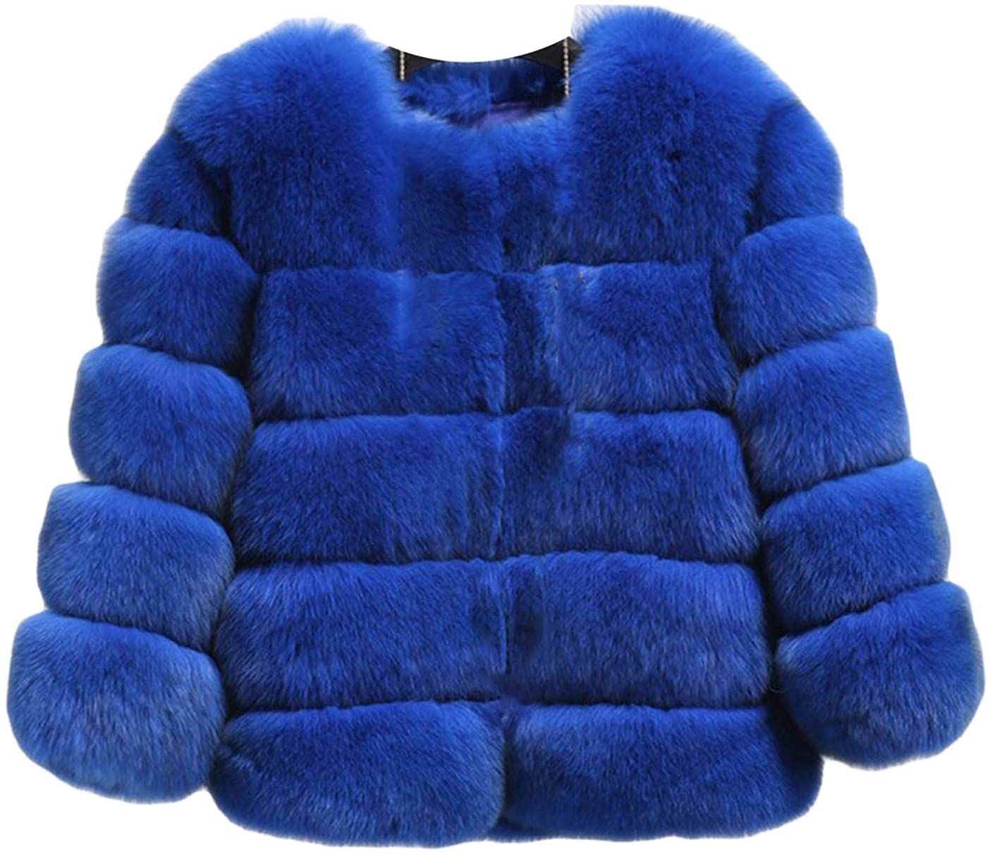 Womens Faux Fur Short Overcoat Fluffy Long Sleeve Luxury Chunky Cardigan Tops for Work Daily
