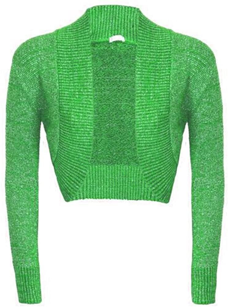 New Womens Long Sleeve Shiny Lurex Knitted Bolero Shrug Crop Cardigan Short Top