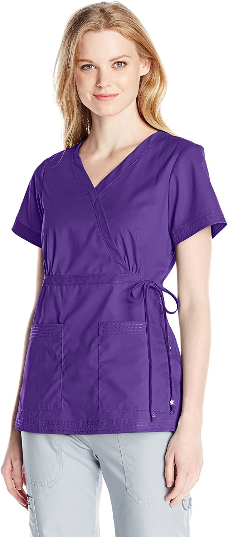 KOI Women's Katelyn Easy-fit Mock-wrap Scrub Top with Adjustable Side Tie, Grape, Small