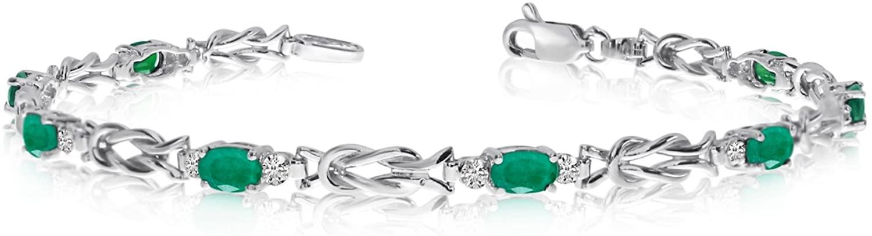 14K White Gold Oval Emerald Stones And Diamonds Tennis Bracelet, 7