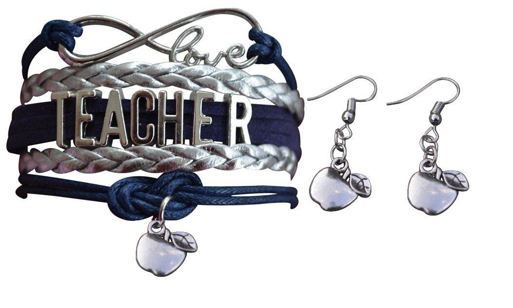 Infinity Collection Teacher Gift- Teacher Jewelry Set, Teacher Bracelet & Teacher Earrings. Show Your Teacher Appreciation