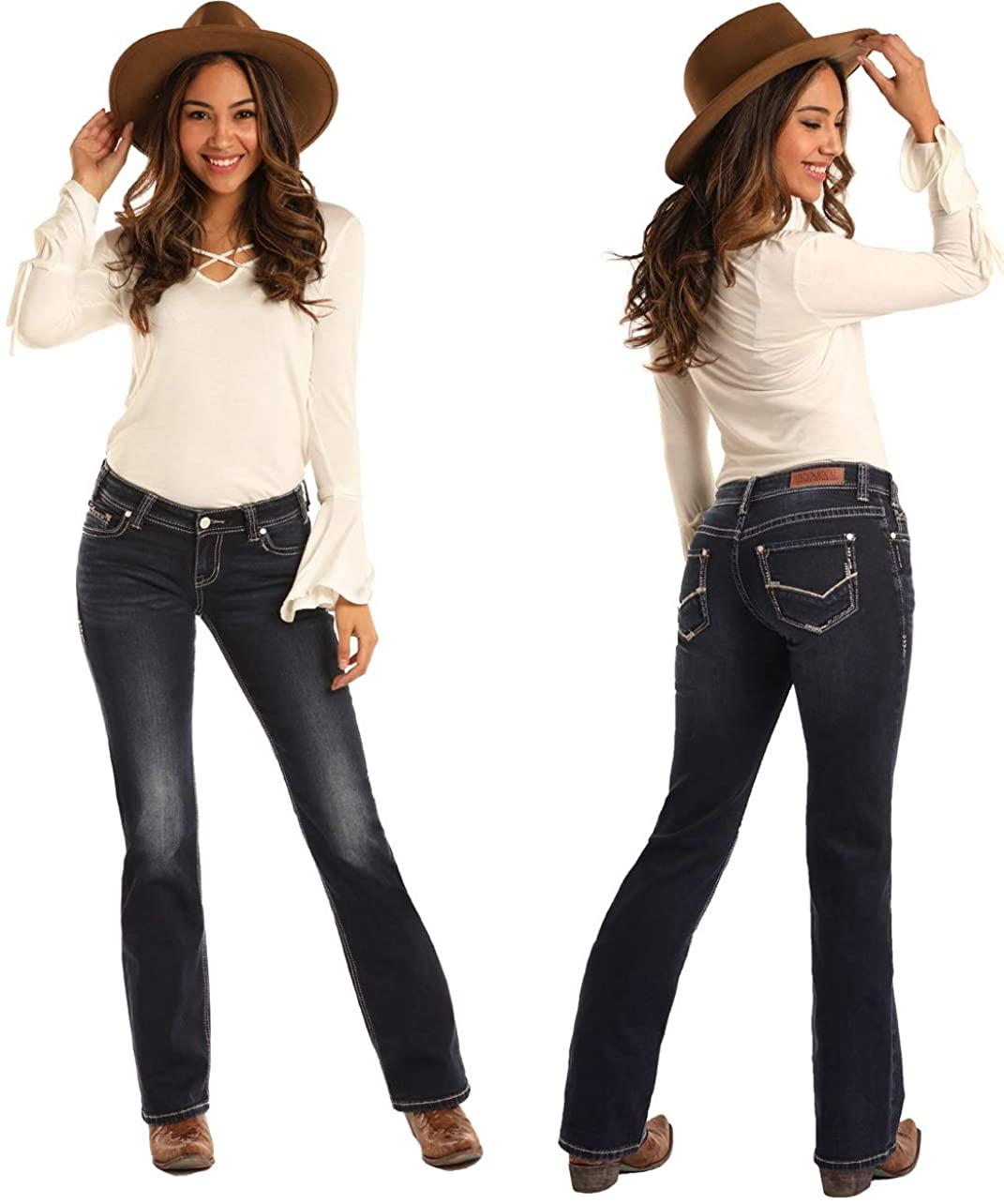 Rock & Roll Cowgirl Juniors Mid Rise Boot Cut Dark Vintage Ladies Jean W1-3434