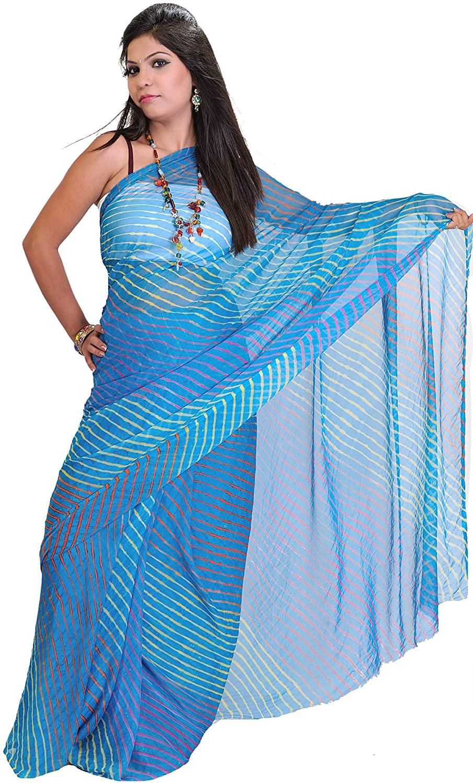 Exotic India Leharia Tie-Dye Sari from Jodhpur