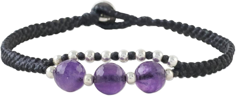 NOVICA Amethyst .925 Sterling Silver Beaded Bracelet, 7.25