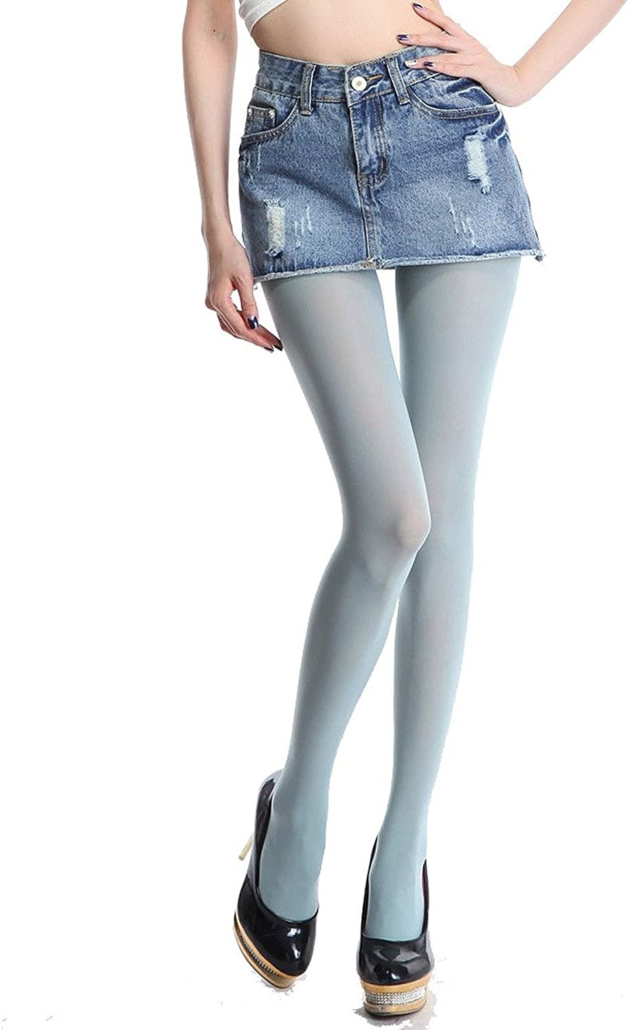 Siftantin Women's Solid Colored Footed Tights