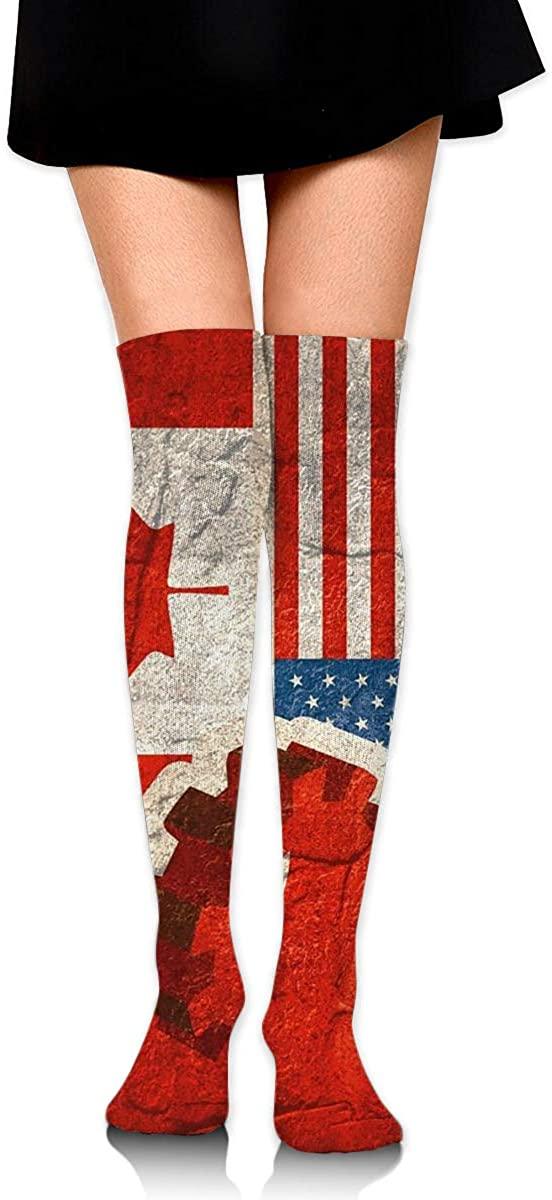Dress Socks America Canada Flag High Knee Hose Hold-Up Stockings For Sports