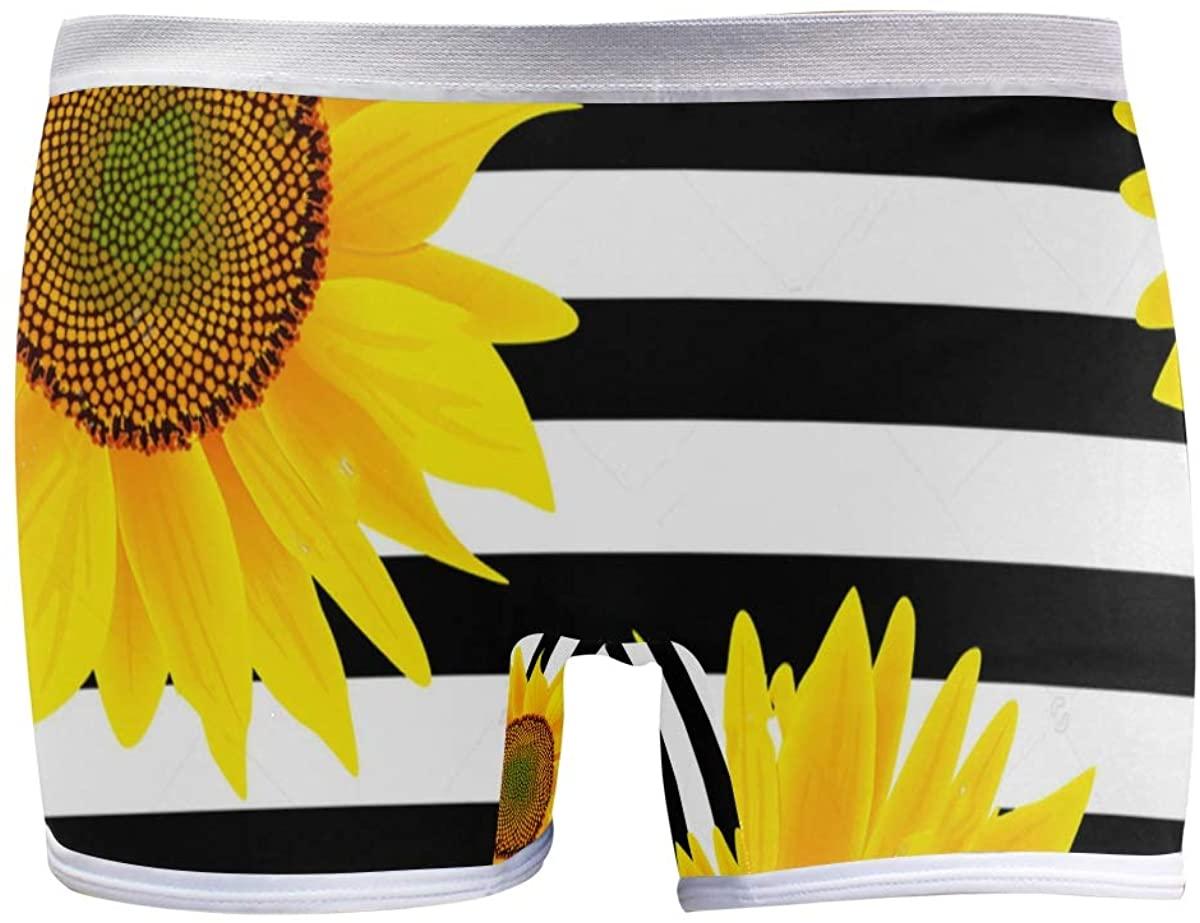 SLHFPX Sunflowers Stripes Boyshort Panties Womens Underwear Soft Boxer Briefs Boy Shorts