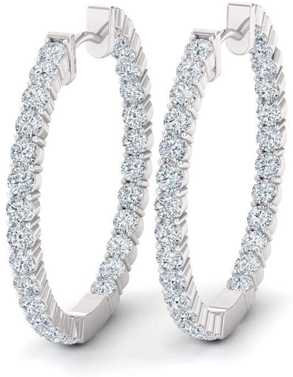 Diamondere Natural and Certified Diamond Huggies Earrings in 14K White Gold | 1.08 Carat Inside Outside Earrings for Women