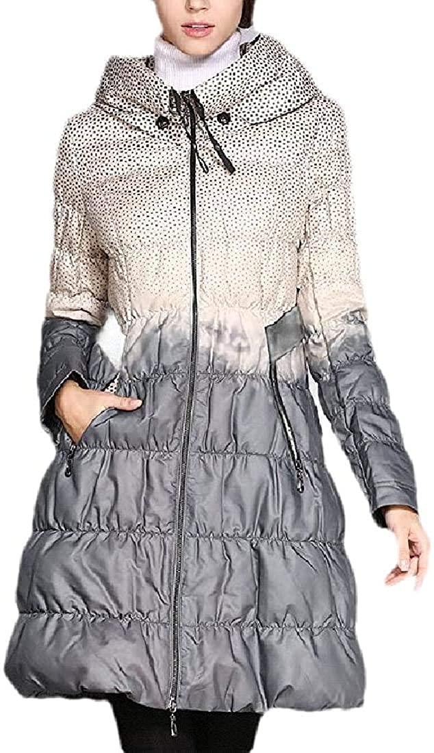 Xudcufyhu Women Thicken Puffer Coat Zipper Up Quilted Long Down Jacket Outerwear