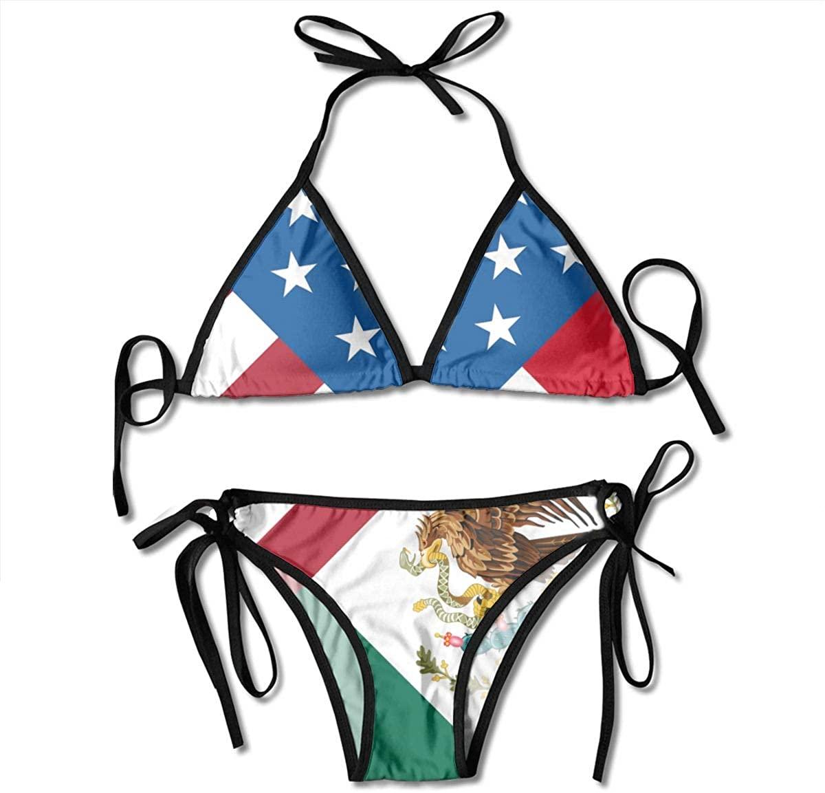 American Mexican Flag Boxing Bikini Women Swimsuits Set UnderwearTwo Piece