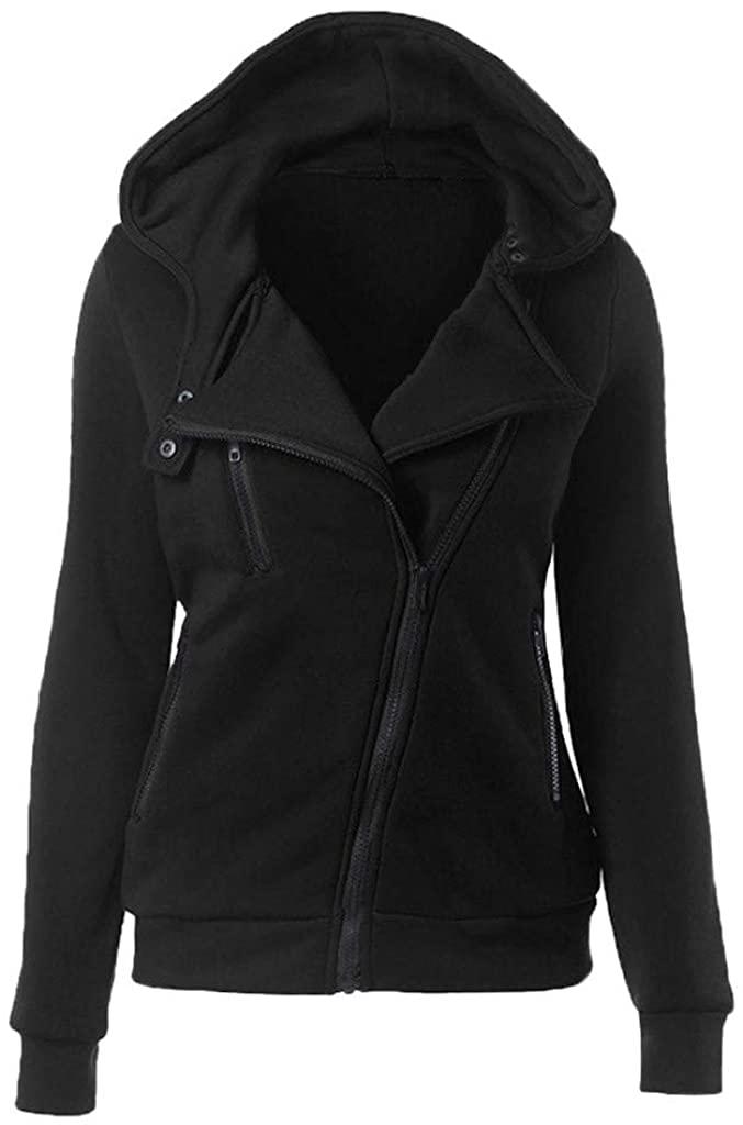 TOTOD Sweatshirts for Women, Women's Oblique Zipper Slim Fit Hoodie Jacket Long Sleeve Blouse Coat Outwear
