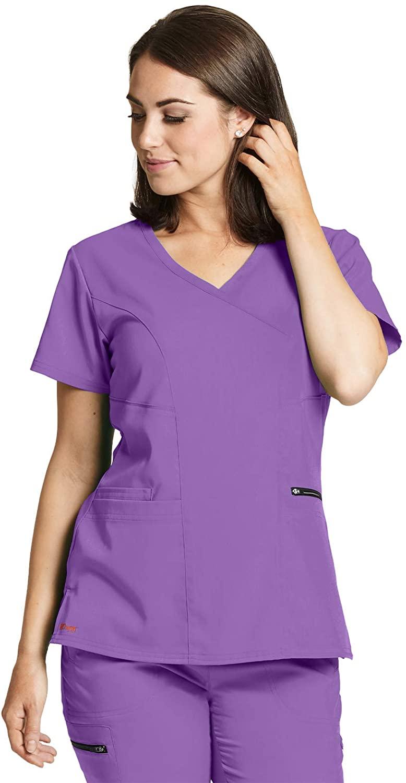 BARCO Grey's Anatomy GRST001 Women's Kim Three Pocket V-Neck Surplice Princess Seam Scrub Top Sweet Violet XL