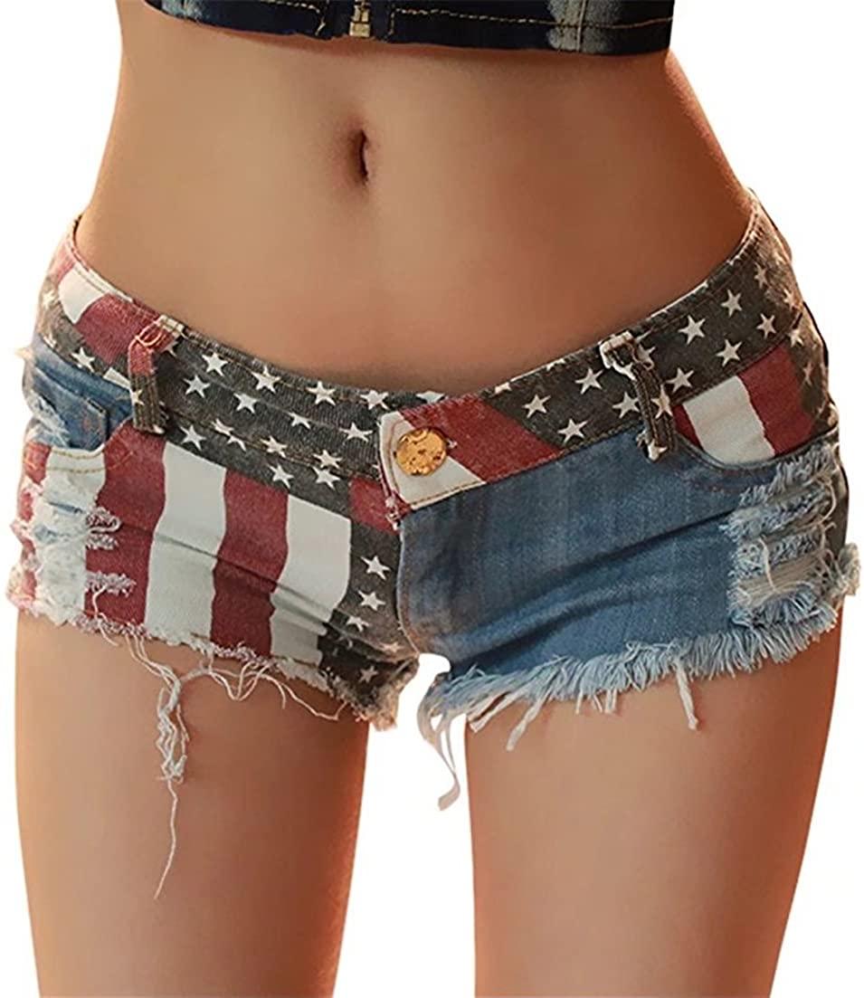 jieli a Women's Low-Rise American US Flag Print Daisy Duke Ripped Denim Shorts Destroyed Hot Pants
