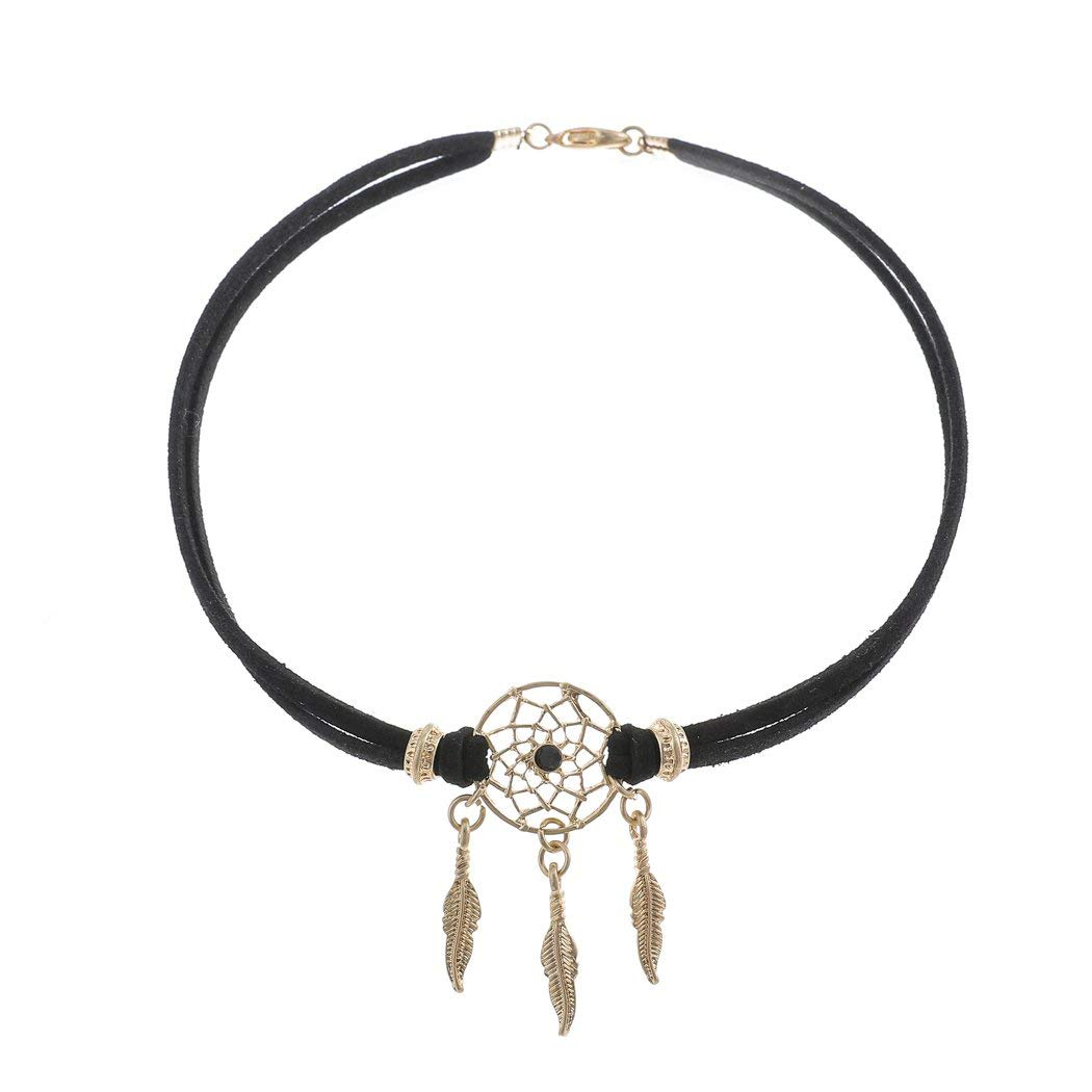 Simsly Punk Choker Necklace Black Dreamcatcher Necklaces Chain Jewelry for women and Girls
