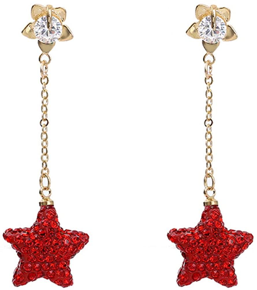Mesheshe Crystal Star-Shape Long Drop Earrings, Red Rhinestone Dangle Earring, Clear Cubic Zirconia Studs Earrings (MSS20-EH001)