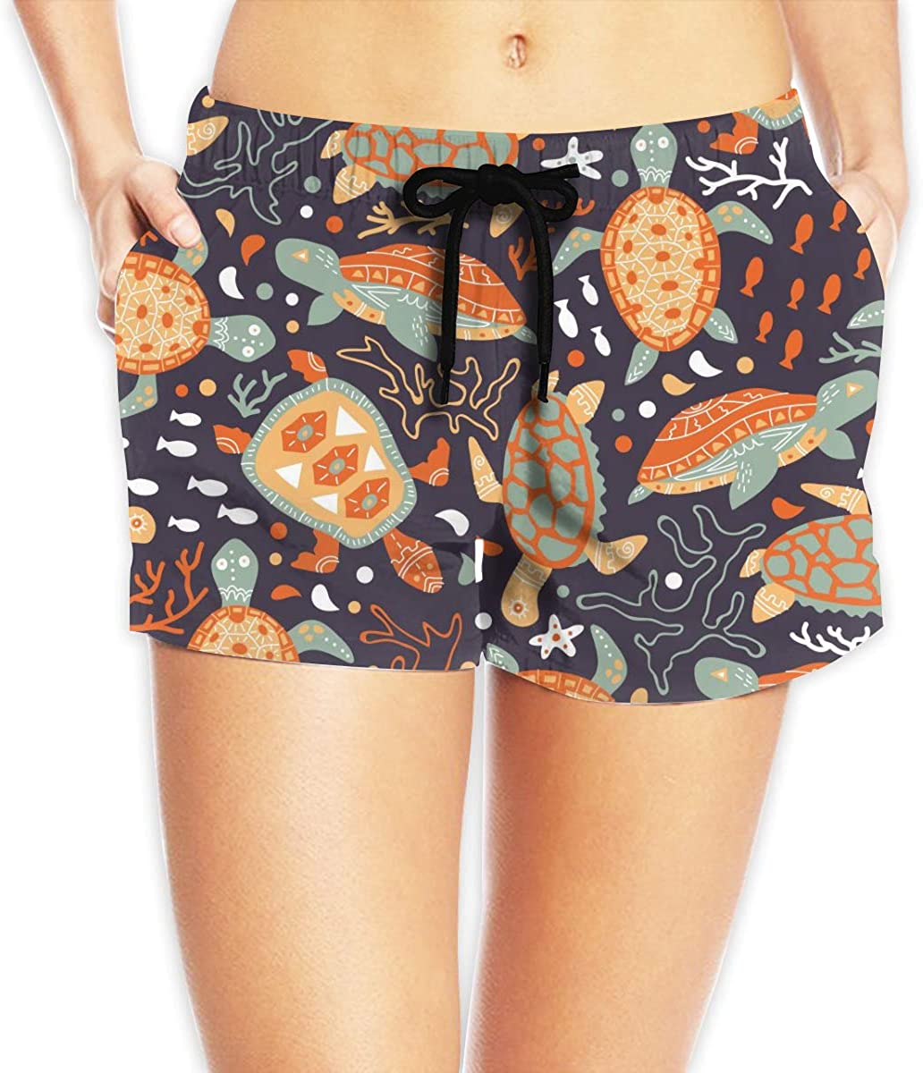 Turtles Sea Plants Corals Fishes Women's Beach Shorts Board Shorts with Pocket Swimming Trunks