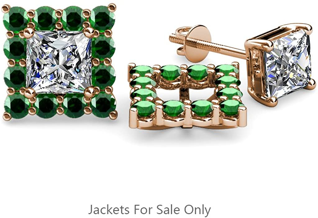 TriJewels Emerald Halo Jackets for Princess Stud Earrings 0.70 ct tw in 14K Gold