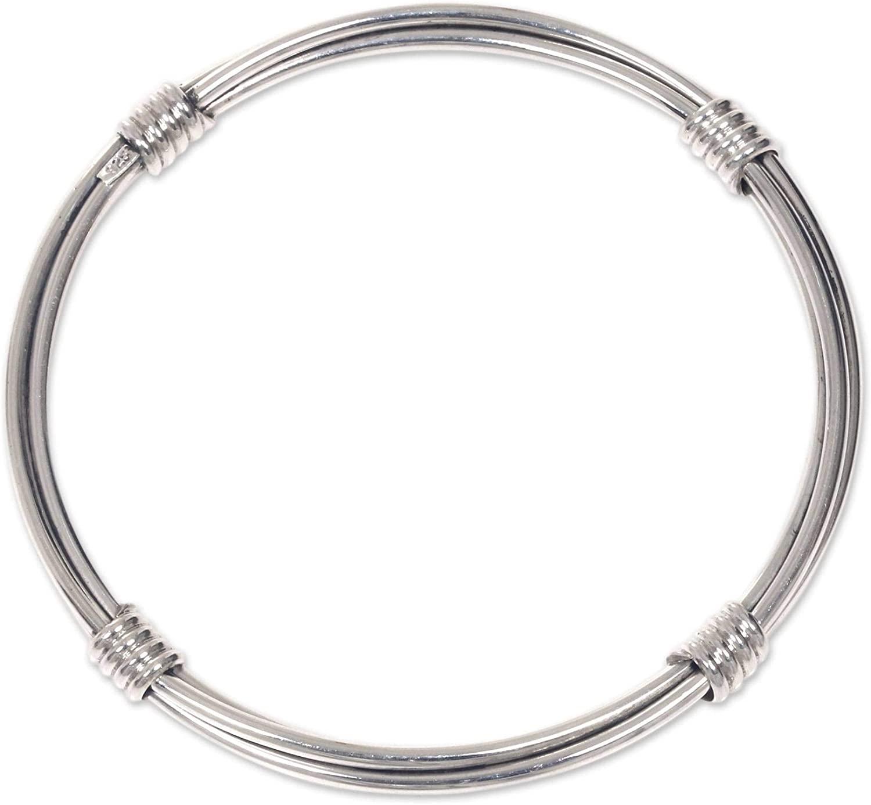 NOVICA .925 Sterling Silver Bangle Bracelet, 7.5