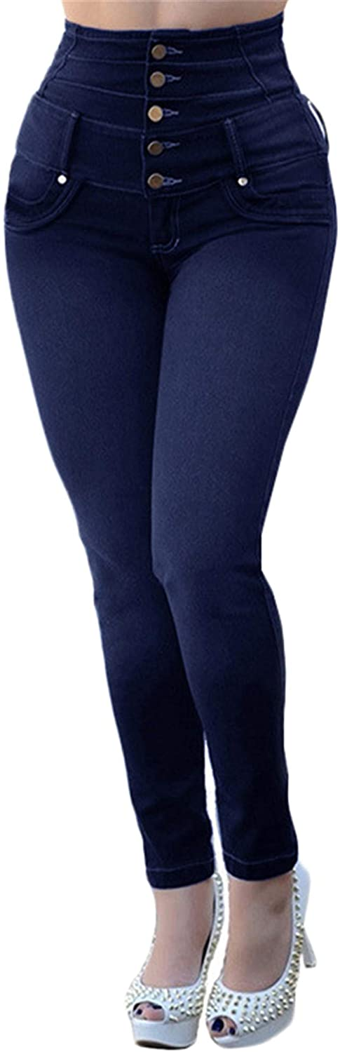 Soluo High Waisted-Rise Stretch Skinny Jeans for Women Comfy Button Wash Denim Pant Pantalones Trousers