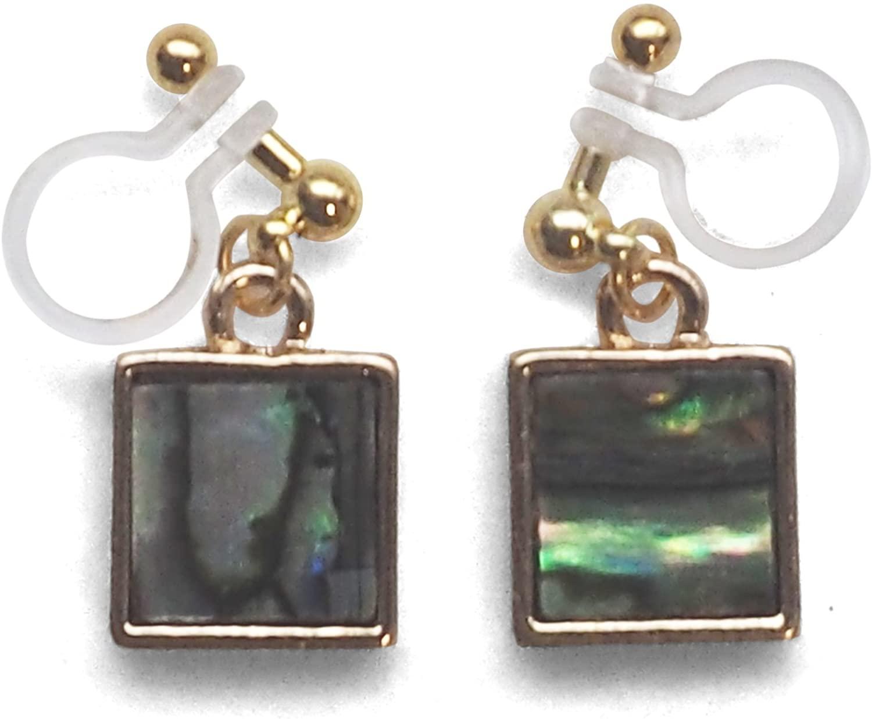Miyabi Grace Invisible Clip On Earrings Abalone Green Shell Dangle Square Circle Triangle Drop Earrings Non Pierced Gold Fashion Earrings for Women
