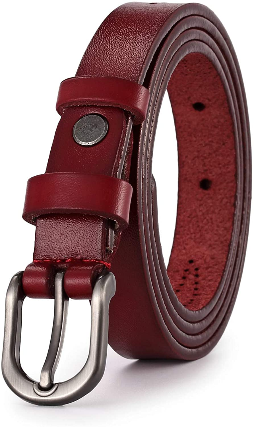 Women Leather Belt, Geniue Leather Cute Ladies Belt for Jeans Dress Pants with Fashion Buckle