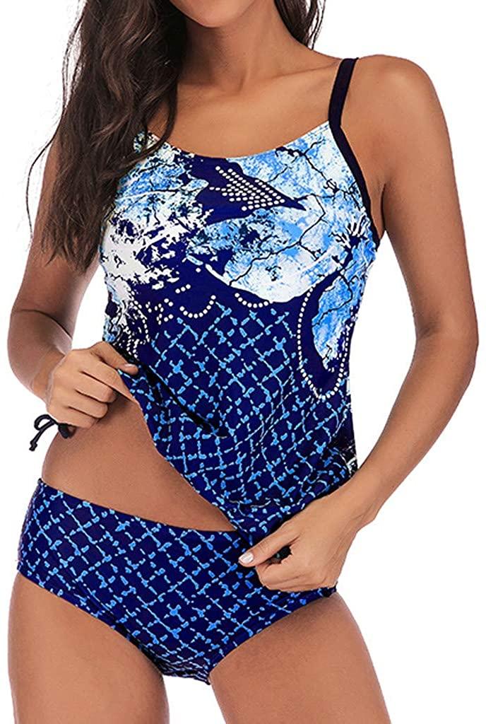 Women Plaid Printing Top Set with Boy Shorts Tankini Slimming Swimdress 2pcs Swimwear Bathing Suit