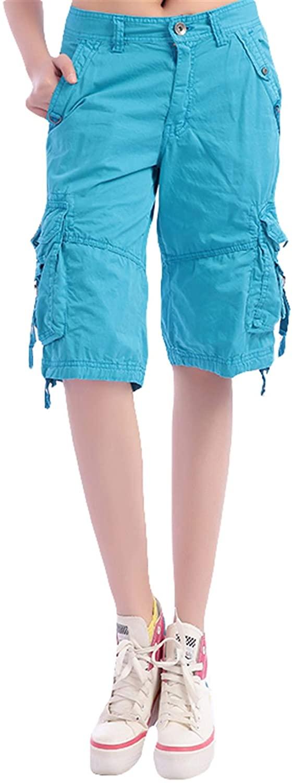 Chickle Womens Cargo Shorts Multi Pocket Straight Bermuda Shorts
