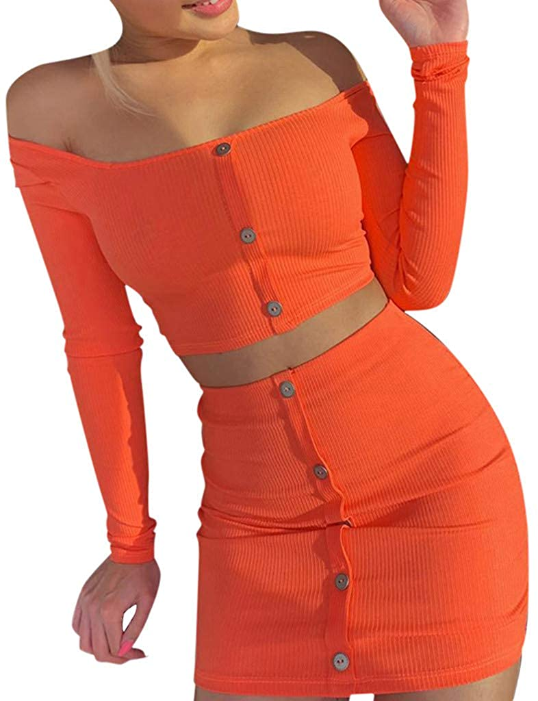Fashion Women Solid Bottons Long Sleeve Off Shoulder Crop Top Mini Skirt Suits