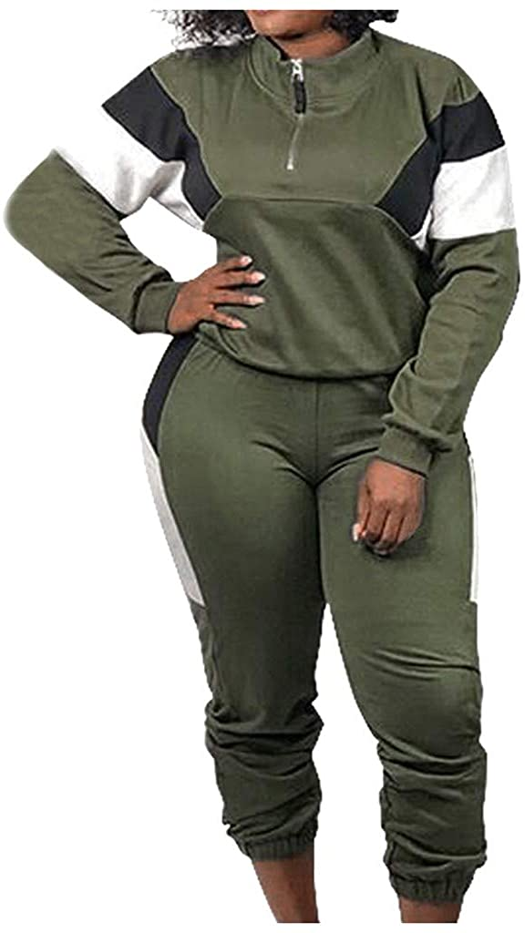Centory Women Casual Tracksuit 2 Piece Zip Top and Elastic Waistband Pant Women Windbreaker Tracksuit Set