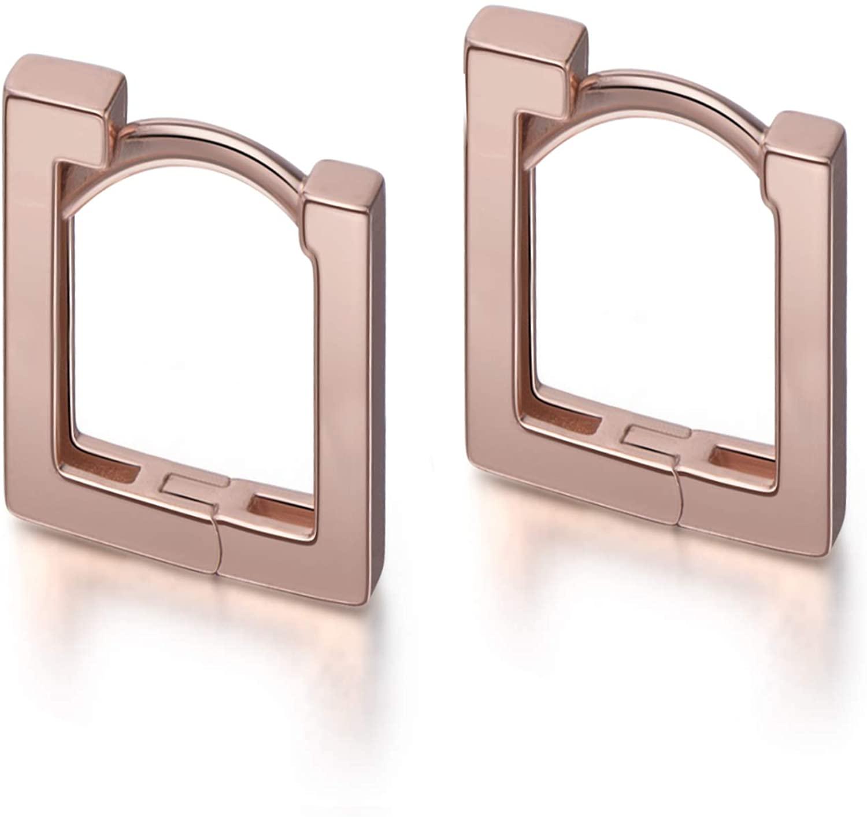 S.Leaf Minimalist Square Hoop Earrings Sterling Silver Bar Hoop Earrings for Women (1.4cm-rose)
