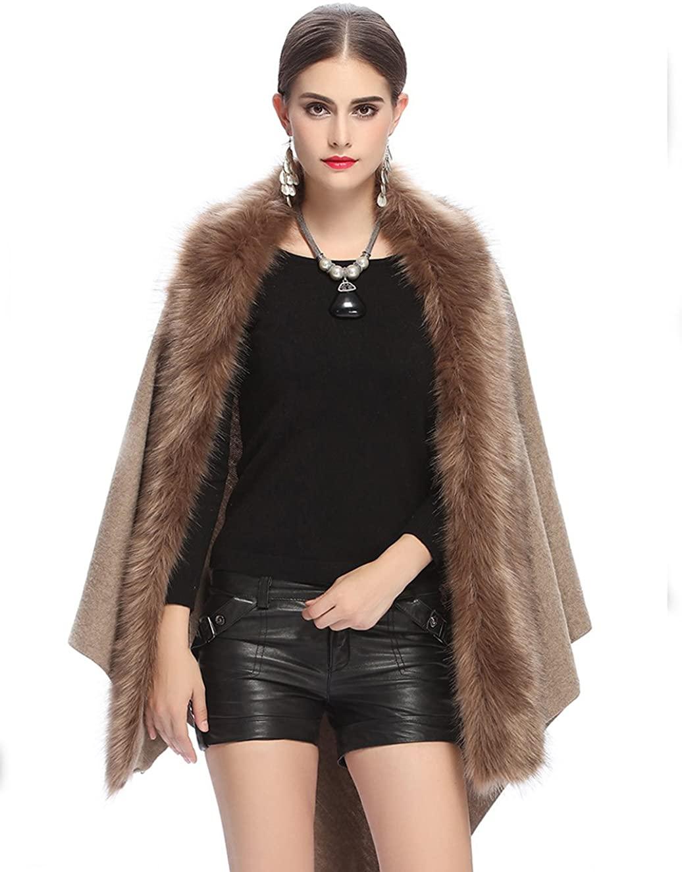 Fenghuavip Women's Luxury Faux Fur Shawl Wraps Cloak Coat Sweater Capes