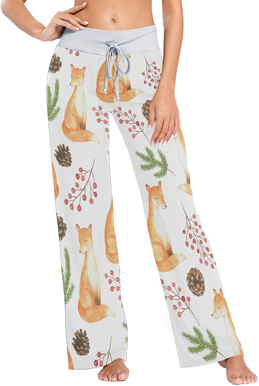Watercolor Foxes Women Pajama Pants Bottoms Palazzo Yoga Stretchy Wide Leg Trousers